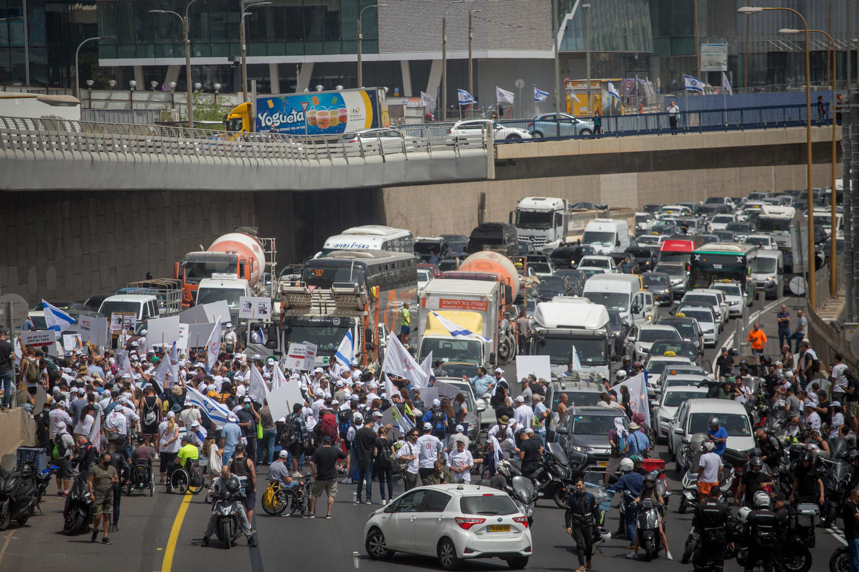 демонстрация на трассе Аялон, 18 апреля