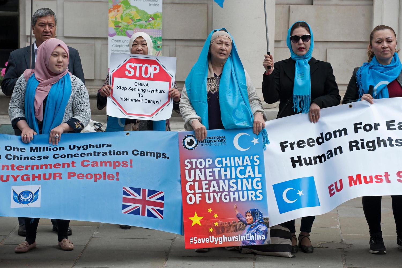 Демонстрация в поддержку уйгуров в Лондоне.