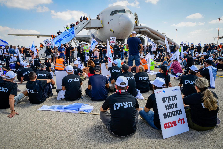 демонстрация на летном поле аэропорта Бен-Гурион, 19 августа